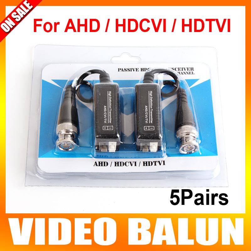 5Pairs BNC to UTP Cat5/5e/6 Video Balun HD Transceivers Adapter Transmitter Support 720P/1080P,AHD/CVI/TVI Camera 200M(China (Mainland))