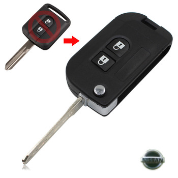 Uncut Flip Folding Remote Car Key Shell Case Fob Cover For Nissan Nissan Micra K12 Note Navara Qashqai 2 Buttons
