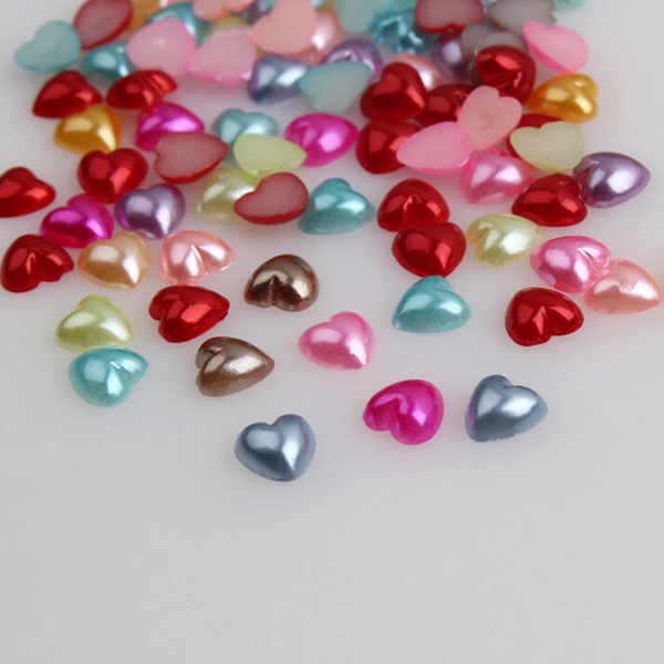 Mixed Popular Colors Half Heart Pearl 500pcs 6mm Loose Flat Back Beads Half Scrapbooking For Mobile Phone Embellishment(China (Mainland))