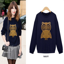 New Design Fashion Brand Printed Owls T Shirt Women Long Sleeve Cotton T-Shirt Lady Knitted Casual Novelty Plus Size Tops(China (Mainland))