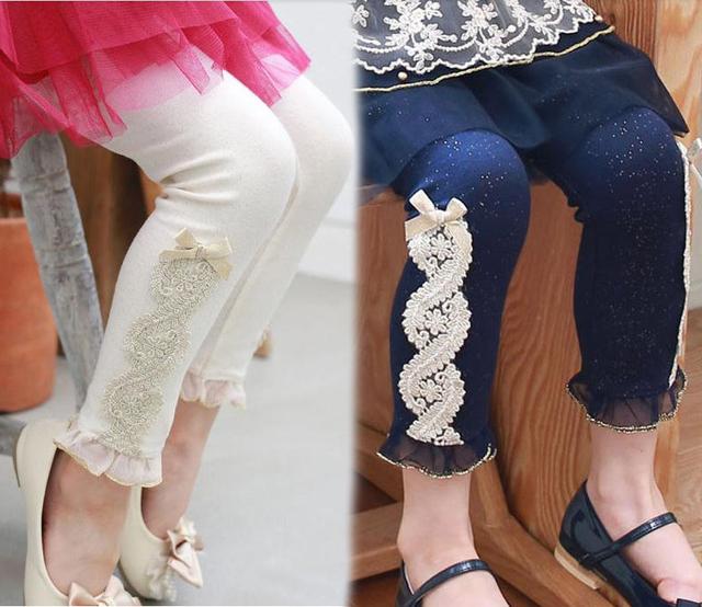 Корейский дети девочки аппликации узор леггинсы 100% хлопок дети Colorful брюки девочка леггинсы