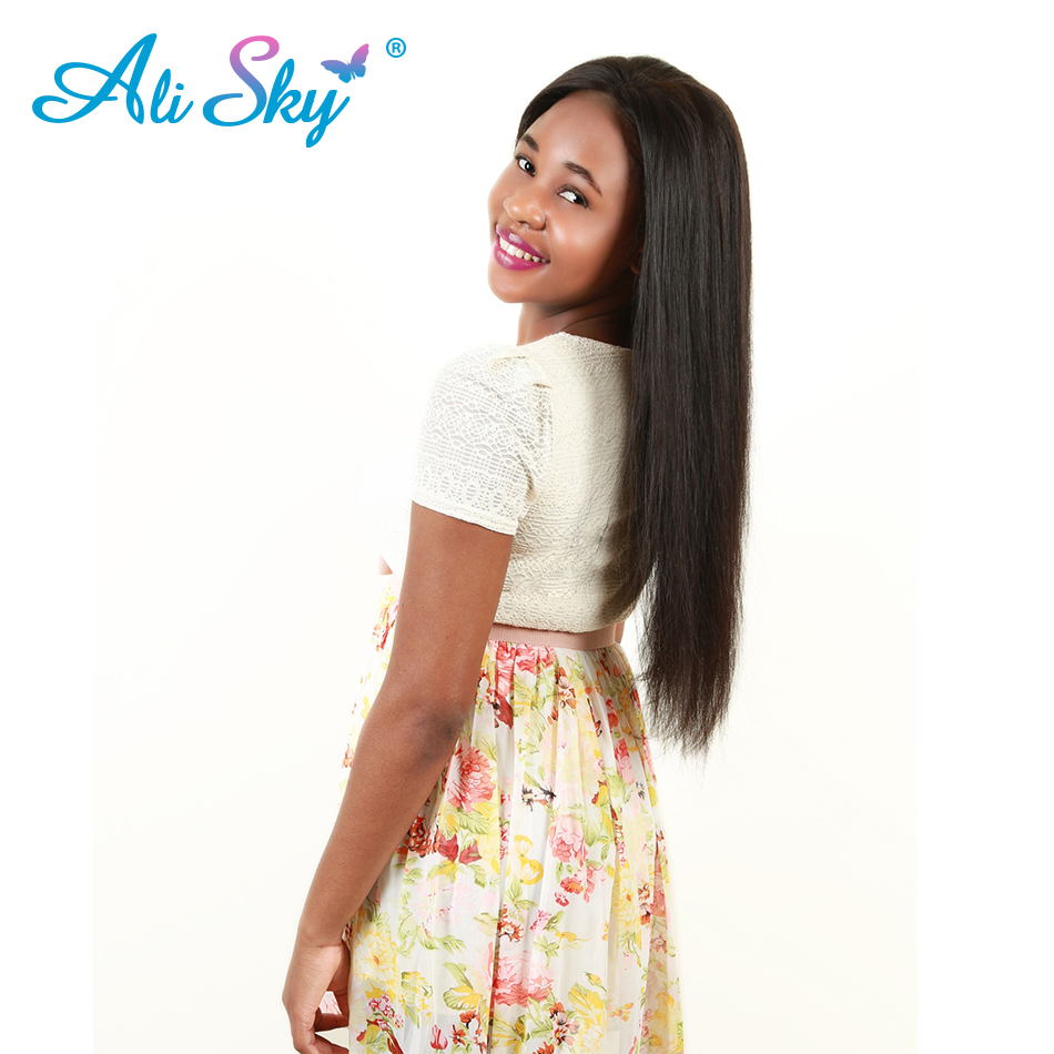[Ali Sky] Brazilian Hair Straight 100% Virgin Human Hair Weave Bundles can be curled 10-26 Inches Free Shipping can be dyed