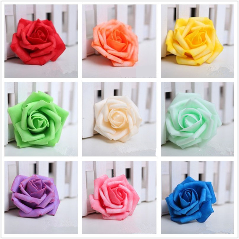 100 pieces / lot 7cm Wedding Decorative Flowers Handmade Rose Flowers Wedding Party Artificial Foam Roses Home Party Decoration(China (Mainland))