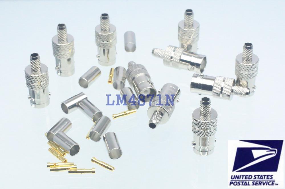 10pcs BNC female jack crimp RG58 RG142 LMR195 RG400 cable RF connector(China (Mainland))