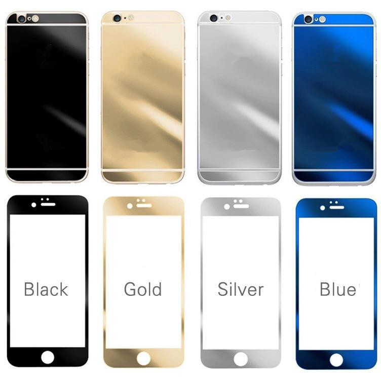 Front+ Back Full Cover Electroplating Mirror Effect Color Tempered Glass Screen Protector Film Case For iPhone 5 /5S 6/6Plus(China (Mainland))