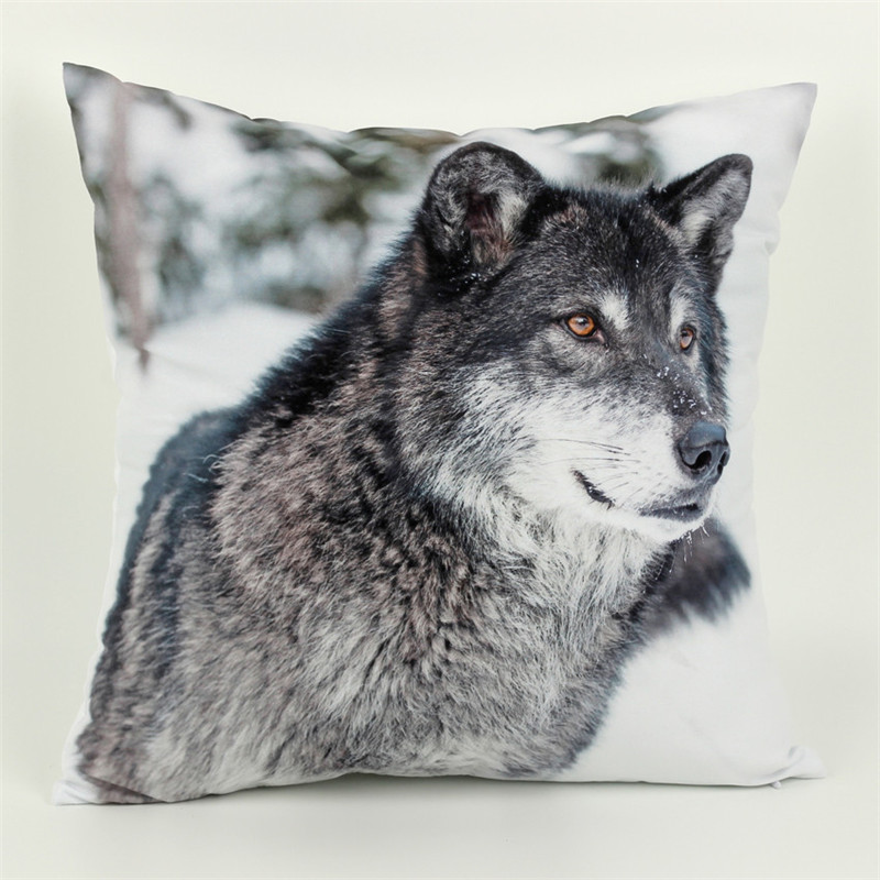 45cm 45cm Wolf Cushion Cover Animal 3d 1 Side Printing Decorative Throw Pillows Cover for Couch