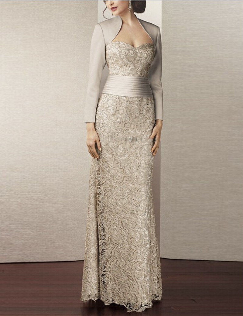 Hot Sale Lace Mother Of The Bride Dresses With Jacket 2015 Floor Length Pleated Brides Mother