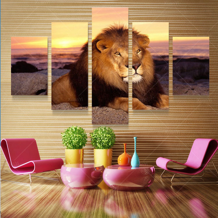 5 Panel Modern Printed Lion Oil Painting Picture Cuadros