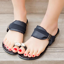 New Brand 2015 Summer Sweet Chiffon Rhinestone Slippers Women Sandals Girl Flat Shoes Ladies Sandals Leisure Shoes Woman US10.5