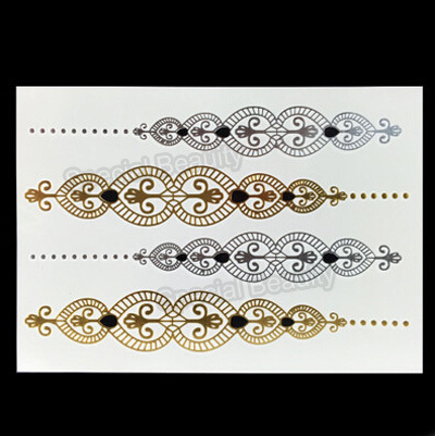 fashion flash temporary tattoo for women men silver gold armband tattoo sticker on body removable metallic tattoo henna WST509(China (Mainland))