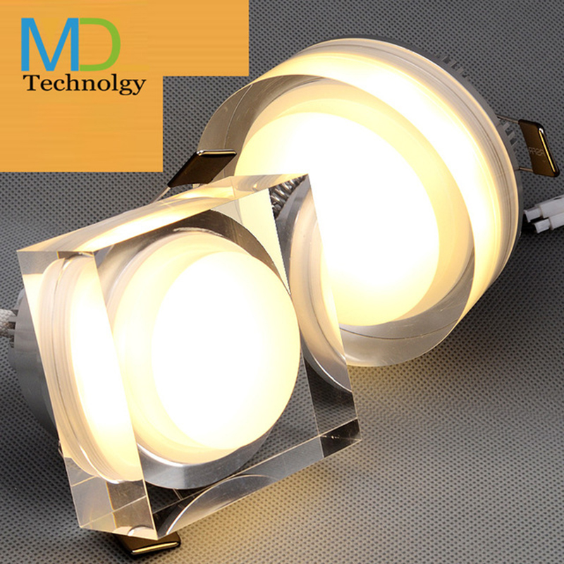 LED Crystal downlight 1W 3W 5W 7W LED Ceiling spot light Recessed lamp round/square 110V 220V for home light with Power driver<br><br>Aliexpress
