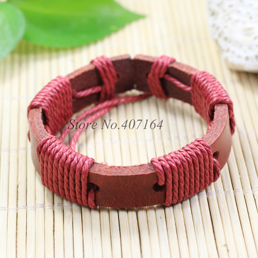 SF148- Bangle Genuine Leather Bracelet Braided Rope Fashion Jewelry Unisex Men&Women - SunFlower Trade Co.,Ltd store