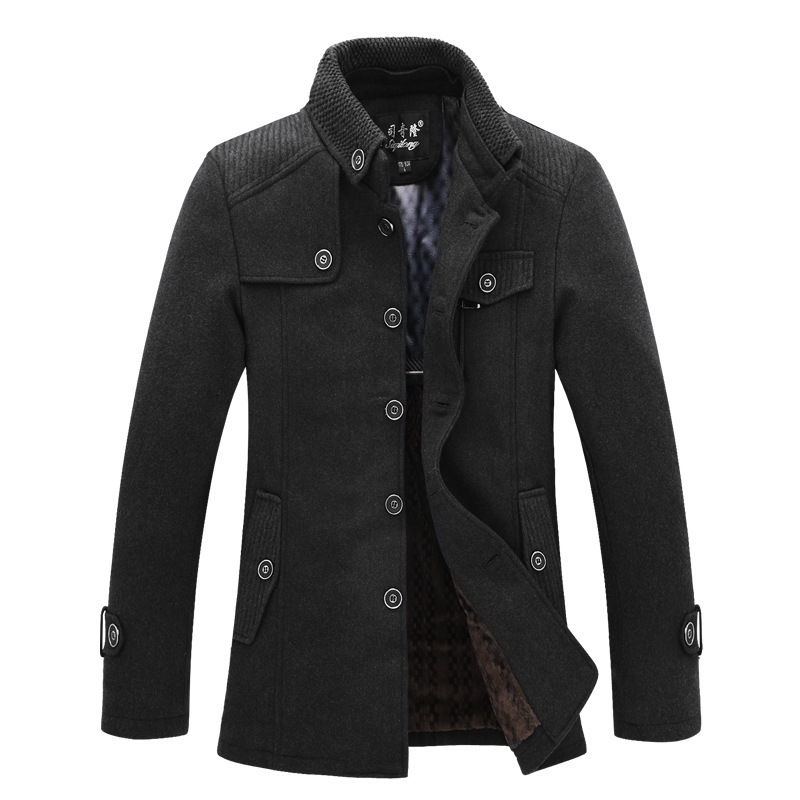 Men's winter long section thick warm wool coat woolen British male stylish slim fit coats jackets - Shoes and clothes in the world store