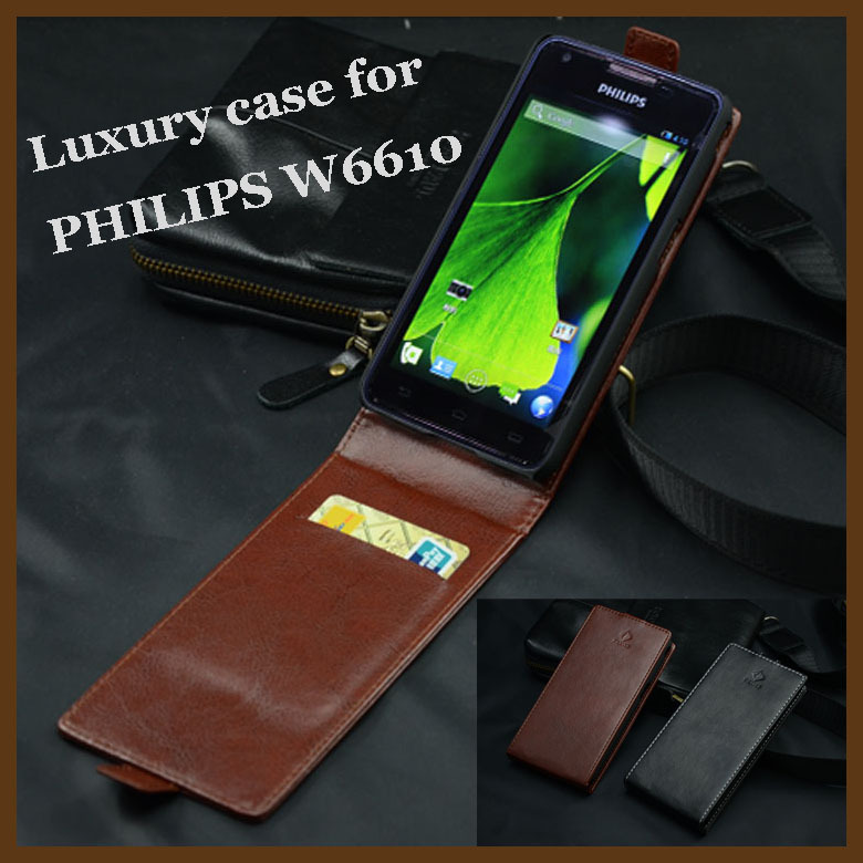 product For PHILIPS W6610 Case Brand Luxury High Quality Leather Cover For Philips W 6610 Case Business Style Flip Style With Wallet bag