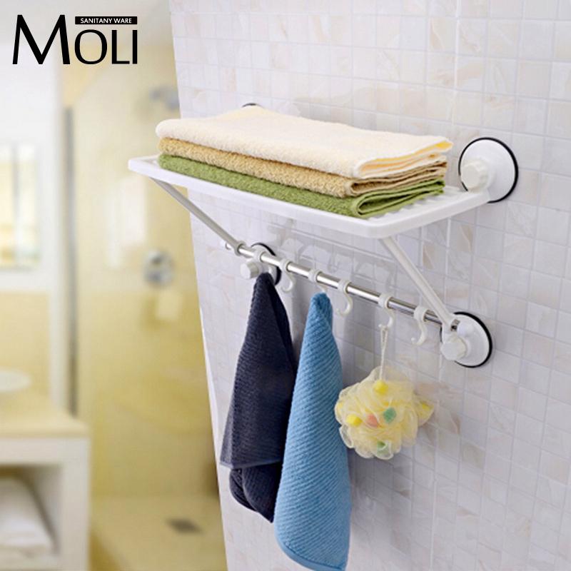 Здесь можно купить  Free shipping single layer towel racks with hooks plastic towel holder wall powerful suction cup bathroom towel shelf  Дом и Сад