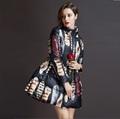 2015 New Slim Long Fashion printing Winter jacket women Plus Size Down Jacket Thickening high grade