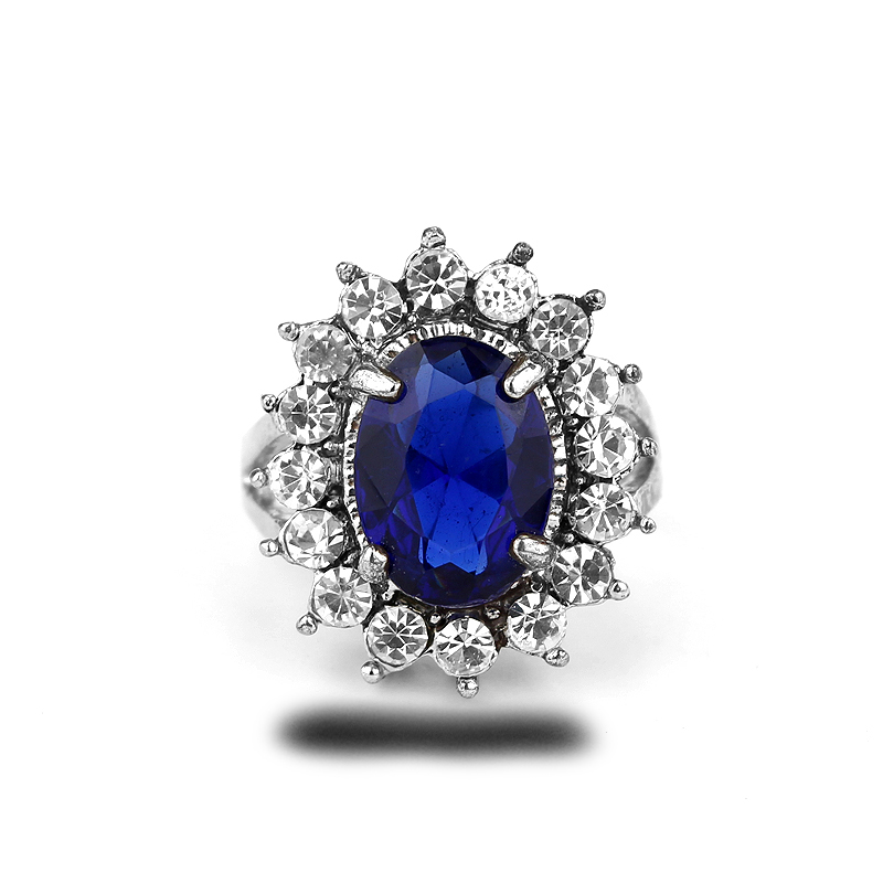 Top Grade Quality Princess Kate Blue Gem Sapphire White Silver Plated Wedding Finger Crystal Ring Brand Jewelry for Women(China (Mainland))
