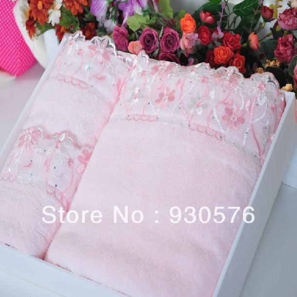 cotton 100 towel set lace edges bath towel face towel gift box top grade