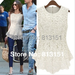 Free Shipping 2014 Women's Girls Back Zipper Decorate Lace Hook Flower  2 Colors Casual Blouse Ladies  shirt