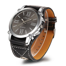 Trendy Classic CRRJU men Analog Roman Numerals dress women watches Quartz Watch with Faux Leather Strap ( Black) for unisex