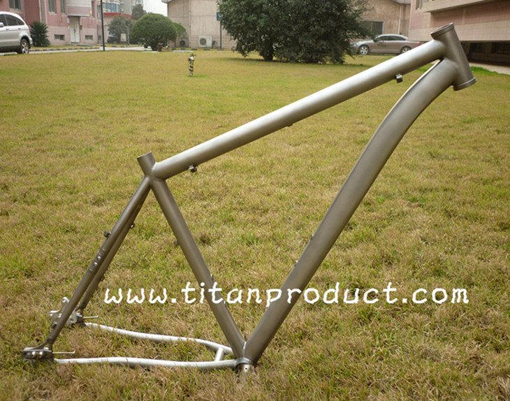 (Sandblasting Finish) Titanium 29ER Frame (For Belt Drive, With Sliding Dropouts and Bending Down Tube)