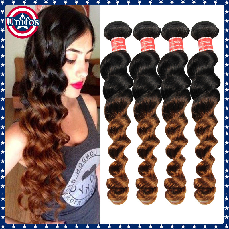 Ombre Peruvian Loose Wave Virgin Hair 2 Tone 1b 30 Human Hair Weaving Top Tissage Peruvian Loose Wave Ombre Hair Extensions 4pcs(China (Mainland))