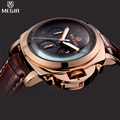 MEGIR Military Men Shows Leather Luxury Watches Chronograph Multifunction Waterproof Quartz Watches Relogio Masculino