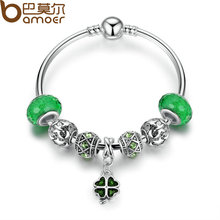 BAMOER 2017 Summer Collection Silver Green Clover Pendant Charms Bracelet & Bangle with Women Lucky Jewelry 17CM 19CM PA3079(China (Mainland))