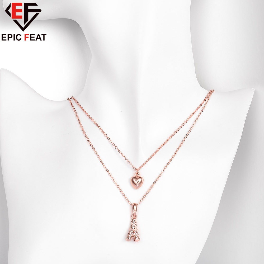 EPICFEAT Luxury Crystal Heart Love Eiffel Tower Pendant Necklace Rose Gold Color Double Chain Women Fashion Jewelry AKN021(China (Mainland))