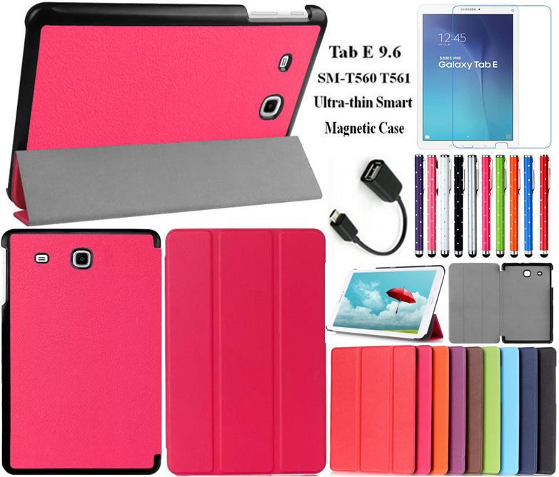 Ultra-thin Smart Magnetic Stand Leather Case for Samsung Galaxy Tab E 9.6 E9.6 Case Cover+Stylus+Screen Film+OTG+Free Shipping(China (Mainland))