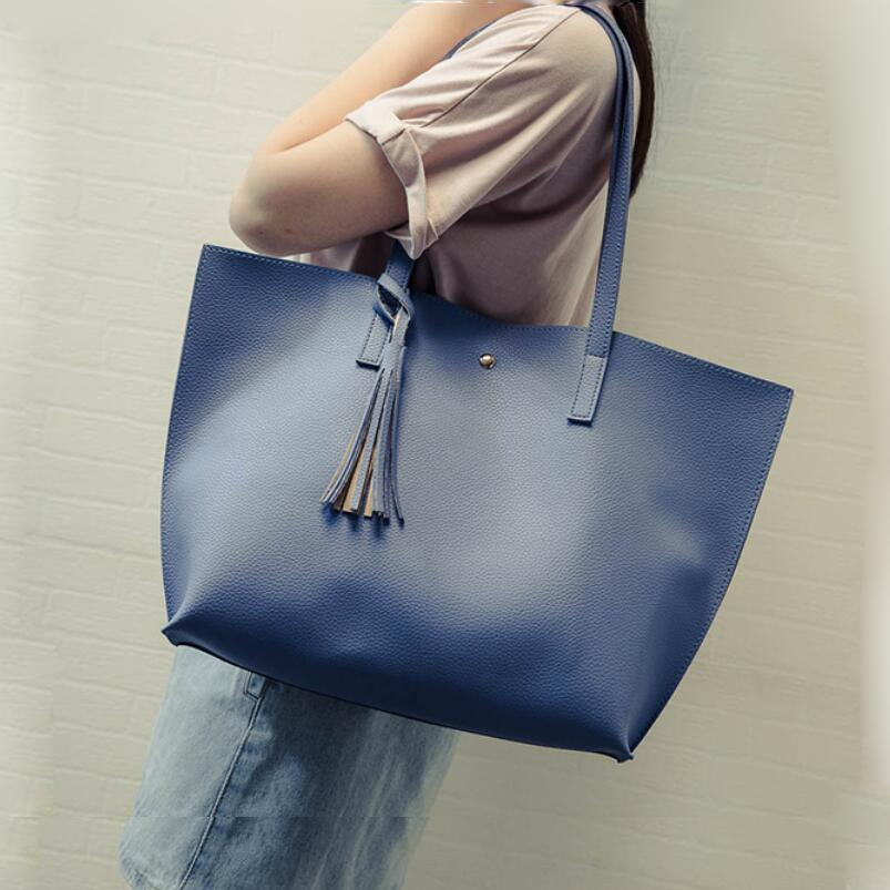 2016 Fashion Women Leather Handbags Tassel Large Casual Tote Bags Candy Color Shoulder Bags Bolsas Femininas Shopping Bags W895(China (Mainland))