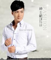 Лучшие продажи Мужские длинный рукав платье рубашка новый стиль мужской 100% хлопок случайных slim fit рубашки