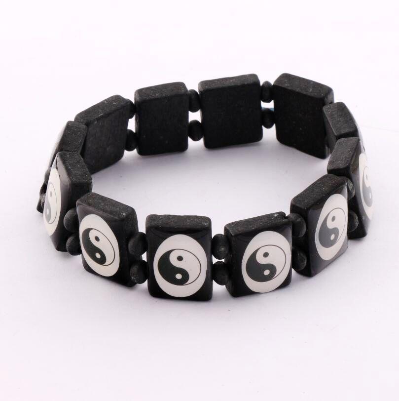 36pcs Large Squares Wood Bracelet with Tai Chi Ying Yang Image Black Wood Dpring Bracelets Wristband BR28(China (Mainland))