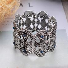 זהב כסף צבע מתכת קאף צמידים & צמידי וינטג תכשיטי אופנה מותג באיכות גבוהה קריסטל צמידים לנשים מתנות(China)