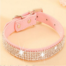 Buy Pet Collar 2016 Hot Bling Rhinestone PU Leather Crystal Diamond Puppy Pet Dog Collars Size S M L Pink Red Supplies Products for $1.15 in AliExpress store