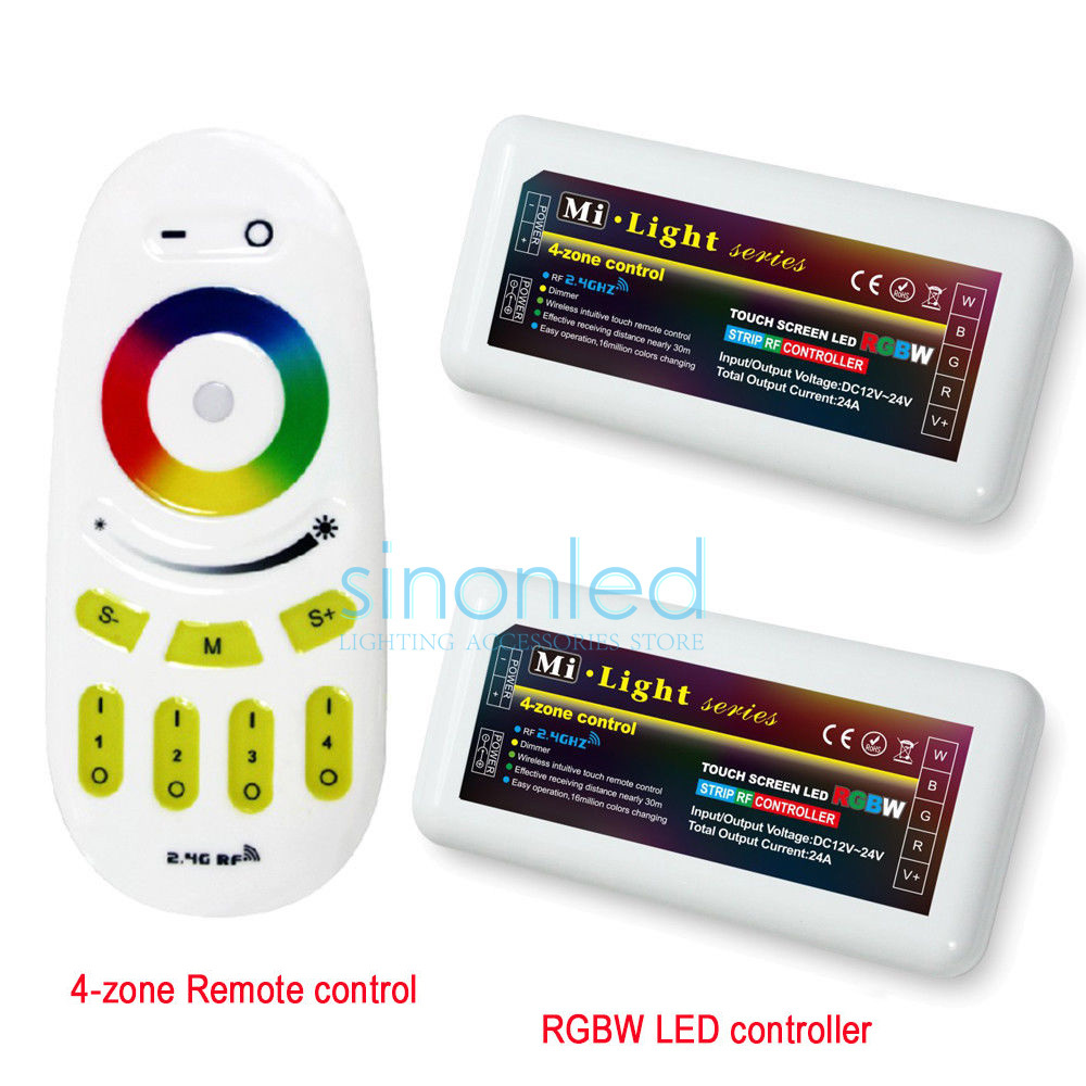 Free shipping Remote+2x RGBW LED Controller one 2.4Ghz 4-Zone Wireless RF Touch remote For 5050 3528 RGBW Led Strip Light(China (Mainland))