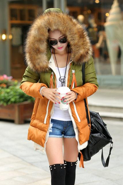 Женщины Parka down jacket 2015 Winter Jacket Женщины thick Snow Wear Coat Lady CloТонкийg ...