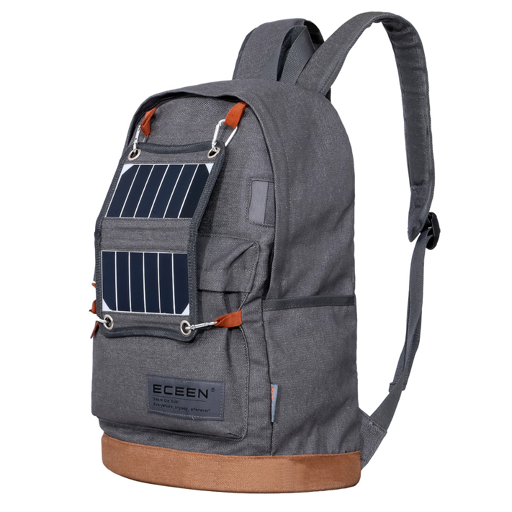 ECEEN Hiking Daypack Lightweight Backpack with Solar Panel Charger&LED Camping Light&2000mAH Power Bank for Smart Cell Phone(China (Mainland))