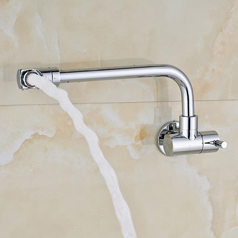 Купить Chrome Настенное Крепление Ванна Кран Одной Ручкой Холодной Воды Кран Раковины Ванной Комнаты Кран