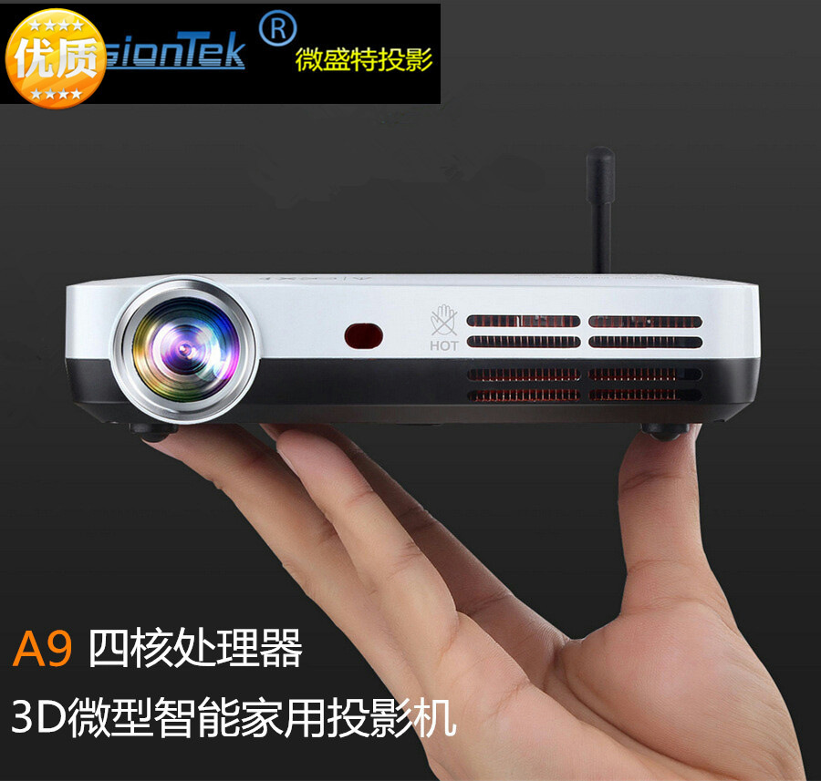 Free shipping DLP andriod 4.4 HD projector manufacturers wholesale VS60 DLP 3D wireless wifi intelligent mini LED home projector(China (Mainland))
