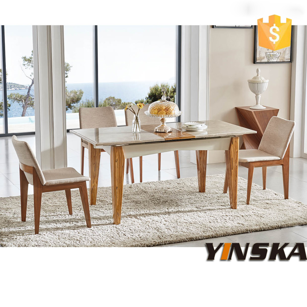 Modern luxury marble top wooden base extendable dining for Best extendable dining table