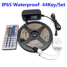 Buy Hot SMD 3528 RGB 5m/Roll LED Strip Light IP65 Waterproof Flexible Diode Led Tape Set+Remote Control+Power Adapter- LD4-3528-F for $5.39 in AliExpress store