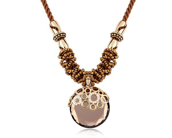 Brown Crystal Long Necklaces Pendants With Swarovski Elements Round Stone Women Simple Accessories For Costume Jewelry NXL0109