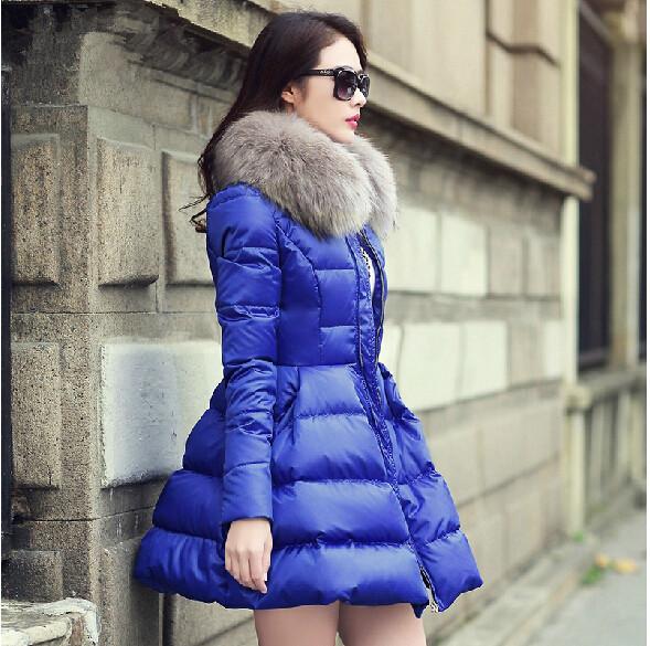 Winter Jacket Women With Natural Raccoon Fur 2015 Korean Winter Coat Women Plus Size S-XXL Medium Long Parkas For Women Winter