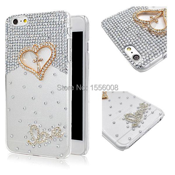 Fashion DIY Case For Iphone 6 plus Shining Crystal Bling Case For iphone 6 Phone Case Cover Protective Hearts Design+Free Gift(China (Mainland))