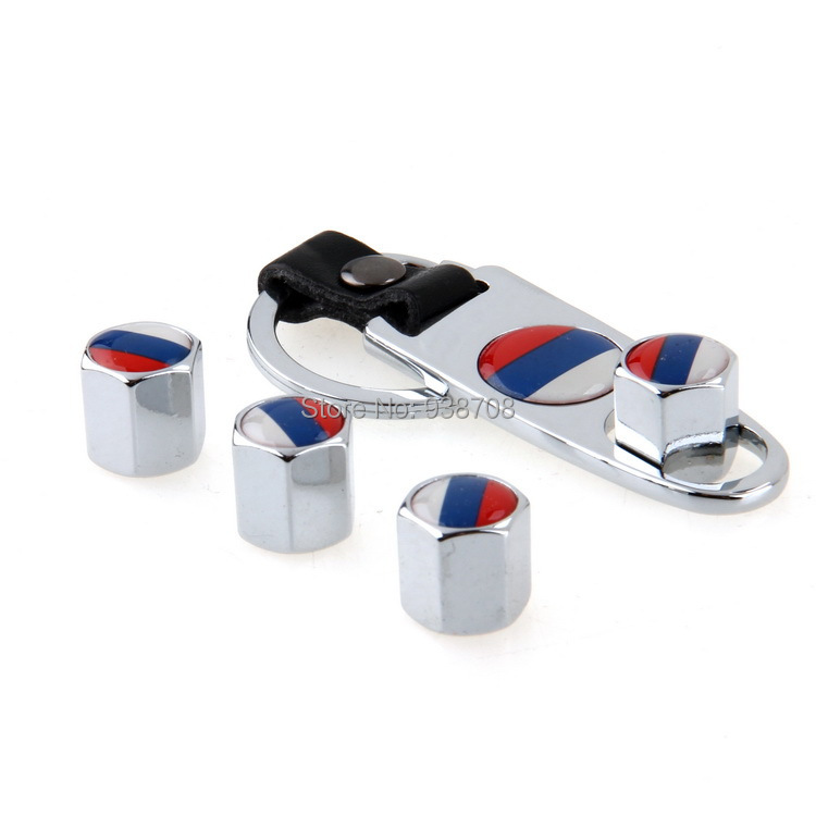Car Styling Russian Federation Flag Stainless Steel Silver 4Pcs Car Wheel Airtight Tyre Tire Stem Air Valve Caps with Keychain(China (Mainland))