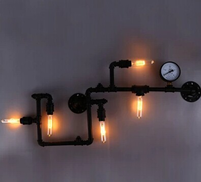 Free shipping to europe industrial lighting water pipe for Black iron pipe lights