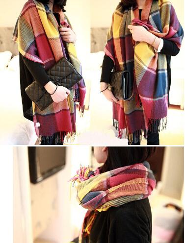 pashminas and wool scarves 2014 new fall & winter fashion colorful burb plaid warm women scarf big size shawl 210*60cm