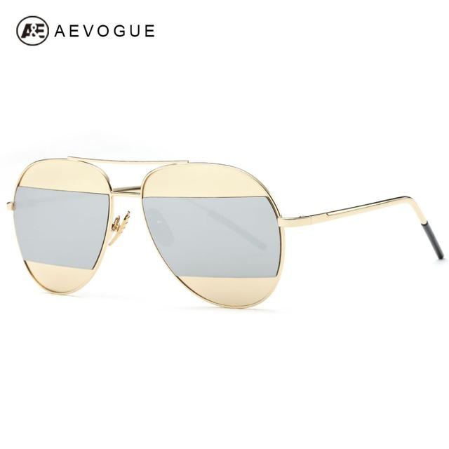 Aevogue очки женщины оригинальный бренд дизайнер двойной ic-мост покрытие старинные медные рамка солнцезащитные очки с коробкой UV400 AE0381