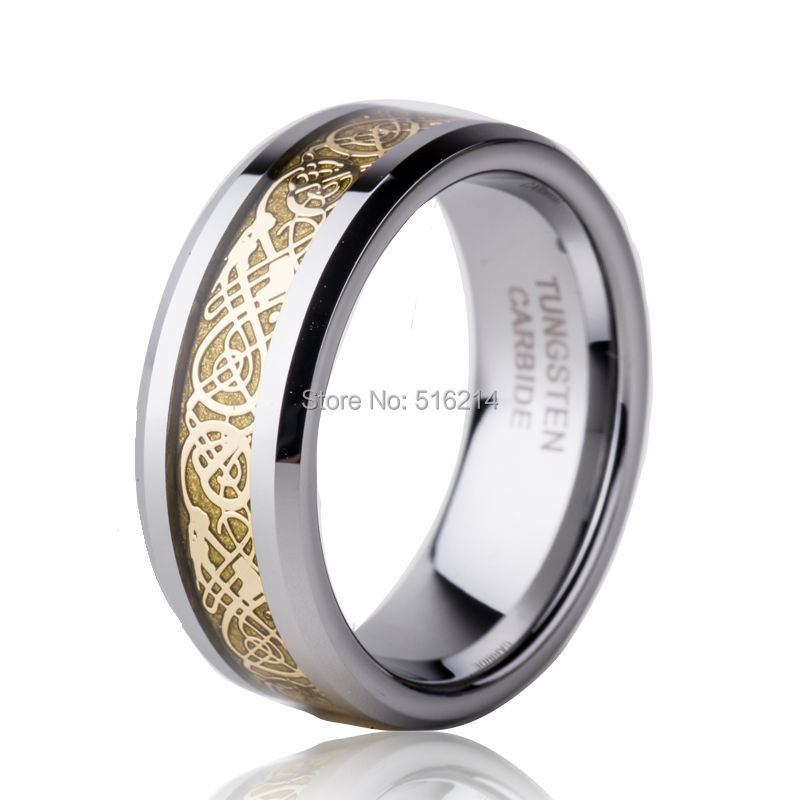 Supernova Sale in Russia 8MM His & Her Promised 18K Gold Dragon Inlaid Tungsten Carbide Channel Wedding Band Animal Rings TU014R(China (Mainland))